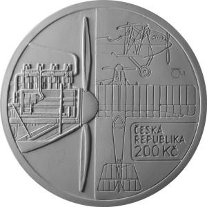 Mince v hodnotě 200 Kč vydaná k příležitosti 100. výročí letu Bohemia B-5
