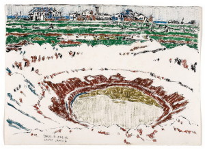 David Milne: Kráter po dělostřeleckém granátu za stanovištěm Vimy, 1919, akvarel na papíře, 1919. FOTO: National Gallery of Canada, Ottawa © The Estate of David Milne