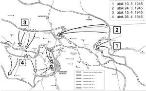 První (šipka 1), druhá (šipka 2) i třetí (šipky 3 a 4) fáze Ostravské operace Rudé armády. (Fortsborník)