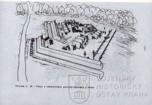 Příloha č. 38 s pokusem o rekonstrukci polního opevnění u Nebes.