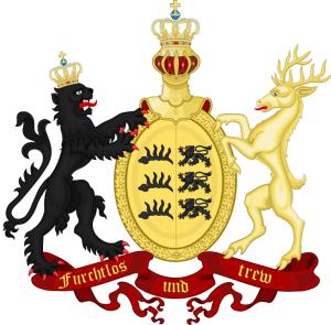 Znak Württemberského království v hlavišti pažby a jeho verze z roku 1817. FOTO: VHÚ