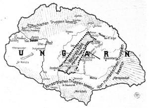 Obrázkový časopis Wiener Bilder otiskl názornou mapu Uher, na níž zvýraznil neutrální pásmo v sousedství Rumunska, které měly maďarské jednotky podle požadavků Dohody (Vixovy nóty z 20. února 1919) začít vyklízet od 23. března 1919. O značném rozsahu poválečných územních ztrát svědčily vyznačené oblasti již obsazené Jihoslovany, Rumuny a Čechoslováky. (VHÚ Praha)