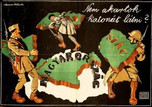 Další plakát pracoval s motivem Uher okrádaných o rozsáhlá území vojáky sousedních zemí (Országos Széchényi Könyvtár)