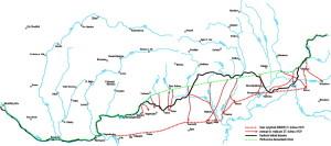 Mapa vykresluje novou linii stanovenou rozkazem ministra národní obrany Klofáče ze 7. dubna 1919 a zachycuje postup čs. vojsk po 27. dubnu 1919 na území vyklizené maďarskými jednotkami. Do operace se postupně zapojily následující čs. síly: 3. divize Hennocqueova (od 27. dubna 1919), 6. divize Rossiho (od 29. dubna), a II. samostatná brigáda plukovníka Hanáka (od 2. května). Borianiho 7. divize měla podle plánu pouze přizpůsobit své východní křídlo operacím II. brigády, ale protože ty byly neúspěšné, postup vůbec nezahájila. (VHÚ Praha, dle podkladů R. Břacha vyhotovil K. Kupka)