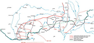 Válečná situace na Slovensku s vyznačenou nejzazší postupovou linií, které dosáhla maďarská vojska v červnu 1919 (VHÚ Praha, dle podkladů R. Břacha vyhotovil K. Kupka)