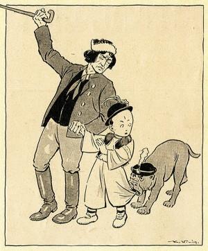 Pustíš ho, bestie!... – alegorie napadení Slovenska otištěná v Humoristických listech (VHÚ Praha)