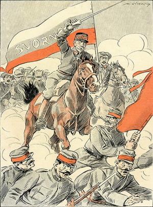 V prvních červnových dnech došel humor i autorům Humoristických listů. Patetické kresbě nazvané Vyhnání Tatarů ze Slovenska vévodí gen. Pellé jako vojevůdce, jenž s praporem svornosti apeluje na celonárodní jednotu. (VHÚ Praha)