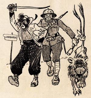 Metody válečné lsti nebyly plk. Šnejdárkovi cizí. Fámu, že na Slovensko přijely čs. vojsko posílit francouzské koloniální jednotky, uvedl v život, tím, že nechal skupinu svých vojáků se začerněnými obličeji pochodovat po jednom nádraží. Byl si jist, že se tato zvěst dostane k Maďarům. O tom, že doputovala ještě dál, svědčí karikatura uveřejněná ve vídeňském satirickém magazínu Kikeriki!. (VHÚ Praha)