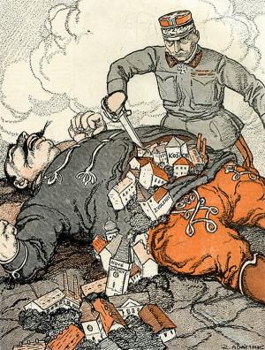 Operace maďarského Bumbrlíčka v pojetí kreslíře Humoristických listů. Byť k poslední plánované čs. ofenzívě už nedošlo z důvodu maďarské kapitulace, byl gen. Pellé v Československu oslavován jako strůjce vítězství. (VHÚ Praha)