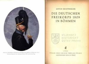 Titulní list a frontispis s kolorovanou rytinou Friedricha Viléma vévody Brunšvicko-Lünebursko-Olešnického, který padl 16. června 1815 v bitvě u Quatre-Bras.