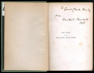 Věnování hraběti Kinskému, vepsané do knihy.