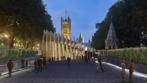 Vizualizace plánovaného Britského národního památníku obětem holocaustu ve Victoria Tower Gardens před Westminsterským palácem – sídlem Parlamentu. FOTO: Adjaye Associates & Ron Arad Architects