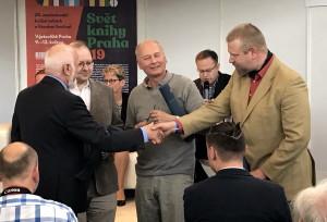 Zleva: doc. Jan Halada, předseda poroty, Zdeněk Vašek, Milan Hlavačka a Zdeněk Munzar