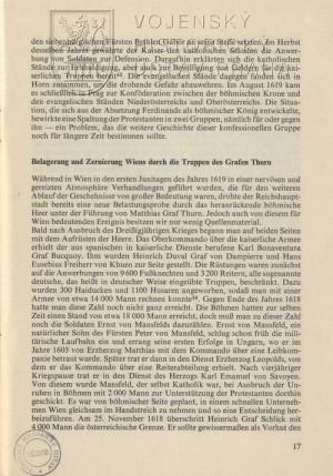 Ukázka textu věnovaná obležení Vídně 1619.