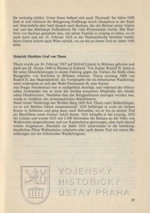 Biografický medailon Jindřicha Matyáše hraběte Thurna.