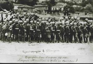 Ruský generál Eduard Totleben se svými důstojníky v San Stefanu, 3. březen 1878