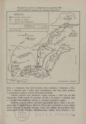 Schéma rozložení čs. vojsk na Slovensku k 12. prosinci 1918.