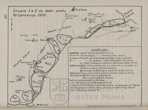 Plánek rozložení 1. a 2. čs. dobrovolnického pluku k 10. červenci 1919.