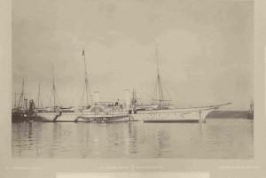 Rakousko-uherská císařská jachta Greif v přístavu, 60.-80. léta XIX. století