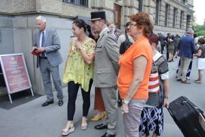 Vernisáž výstavy Husitské války před budovou Generálního štábu Armády České republiky
