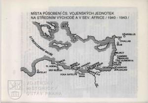 Mapka místa působení čs. vojenských jednotek na Středním východě a v severní Africe v letech 1940-1943.