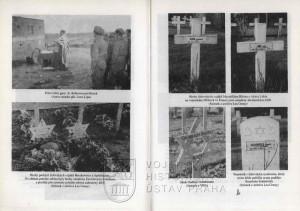 Fotografie polního rabína čs. jednotek a hroby padlých s různými formami náhrobků.