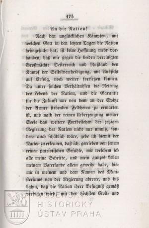 Kossuthovo provolání k národu po bitvě u Temešváru, první strana.