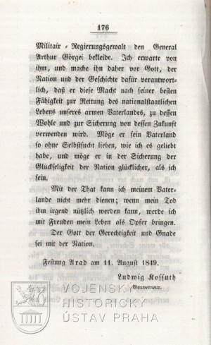 Kossuthovo provolání k národu po bitvě u Temešváru, druhá strana.