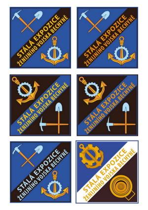 Varianty návrhu loga pro expozici ženijního vojska v Bechyni. V pravém dolním roku realizovaný návrh.