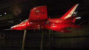Vystavený Hawker Siddeley Gnat T1 sloužil akrobatické letce Red Arrows mezi lety 1976 až 1980. FOTO: Jaroslav Beránek