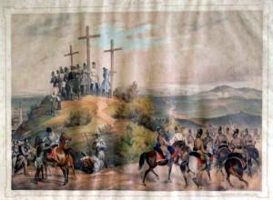Spojenecká rakousko-ruská vojska v bitvě u Temešváru 9. srpna 1849. Kolorovaná litografie ze sbírek VHÚ Praha.