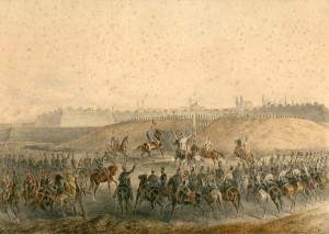 Pevnosti Temešvár dosáhla Haynauova armáda 10. srpna 1849. Kolorovaná litografie ze sbírek VHÚ Praha.