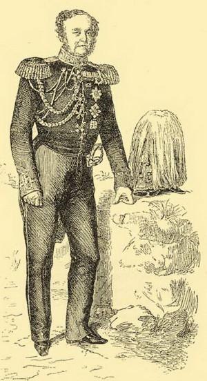 Ruský generál jezdectva Fjodor Vasiljevič Rüdiger (1783–1856). Veterán mnoha válek a velitel III. sboru ruské carské armády v Uhrách zakončil svoji vojenskou kariéru ve funkci guvernéra Polského království. Zdroj: VHÚ Praha.