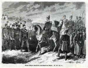 """Kapitulace Györgeyho """"podunajské armády"""" 13. srpna 1849 u Világoše. Zdroj: VHÚ Praha."""