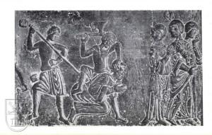 Basreliéf zavraždění svatého Vojtěcha Prusy.