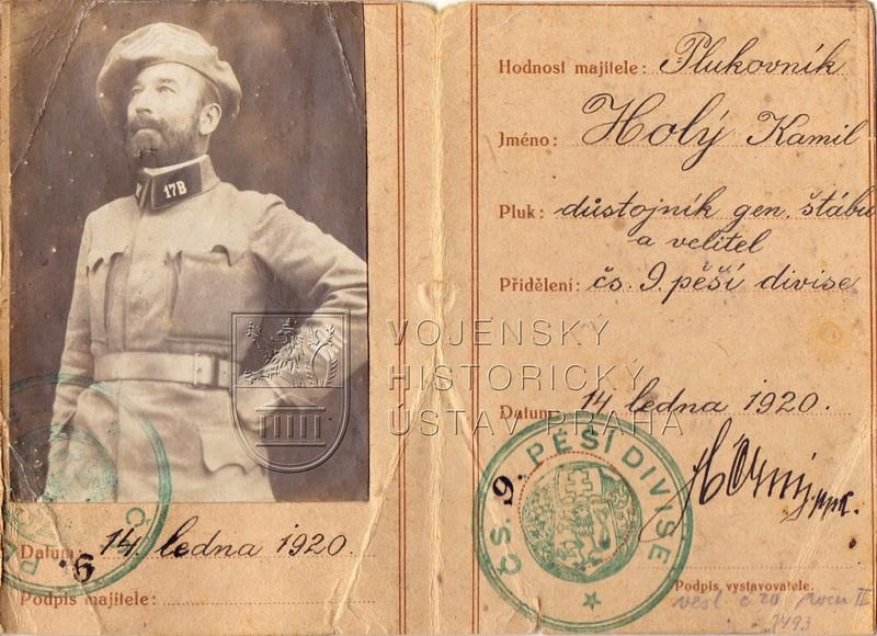 Legitimace generála Kamila Holého, 1920