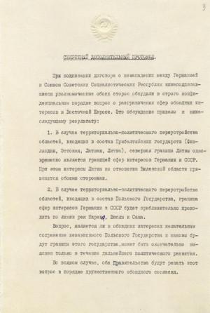 První strana sovětské verze tajného protokolu německo-sovětské smlouvy o neútočení