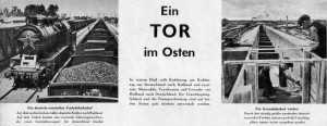 Reportáž německého tisku z léta 1940 z překládky zboží mezi Sovětským svazem a Německem. Vlevo německé uhlí pro SSSR, vpravo práce na rozšiřování nádraží. (Foto: VHÚ)