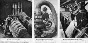Reportáž německého tisku z léta 1940 z překládky zboží mezi Sovětským svazem a Německem. Vlevo bavlna, uprostřed ropa a vpravo obilniny, směřující ze SSSR do Německa.  (Foto: VHÚ)