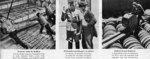 Reportáž německého tisku z léta 1940 z překládky zboží mezi Sovětským svazem a Německem. Vlevo ocel a vpravo kotouče drátů směřující z Německa do SSSR. Uprostřed němečtí a sovětští úředníci. (Foto: VHÚ)