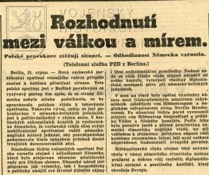 """Zpráva o polském """"odmítnutí"""" ultimáta."""