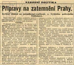 Zpráva o přípravách na zatemnění Prahy.