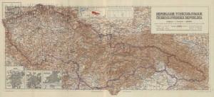 Mapa Československé republiky, dosud s celým Těšínskem, jehož hranice měl určit plebiscit.