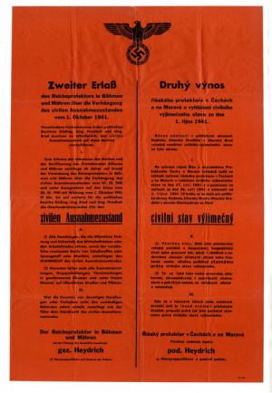 Druhý výnos Reinharda Heydricha o vyhlášení civilního výjimečného stavu