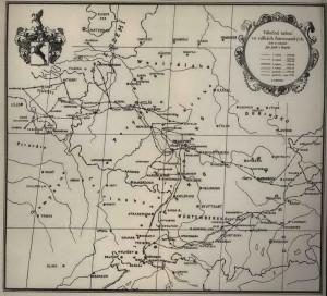Mapka Jeníkových protifrancouzských tažení v letech 1792‒1799.