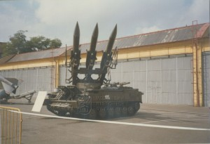 Odpalovací zařízení protiletadlového raketového komplexu 2K12 Kub jako exponát