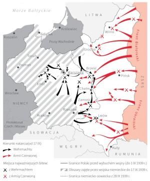 Současná polská mapa operací ve druhé polovině září 1939. Šrafované plochy zobrazují území dobyté Německem do 17. září 1939. Černé šipky zachycují hlavní směry německých úderů po 17. září 1939, červené pak údery Rudé armády. Symbol zkřížených pušek je umístěn v místech bojů polské armády – černý symbol je pro boje s Němci, červený s Rudou armádou. Tečkovaná linka je sovětsko-německá hranice po 28. září 1939.  (dzieje.pl)