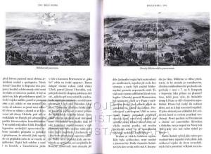 Dvoustrana s reprodukcemi obrazů zachycujících bitvu na Bílé hoře.