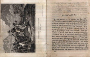 Ukázka textu a vyobrazení druhé bitvy u Bergiselu 29. května 1809.