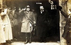 Příjezd Francouzské vojenské mise s gen. Mauricem Pellé v čele do Prahy 13. února 1919.